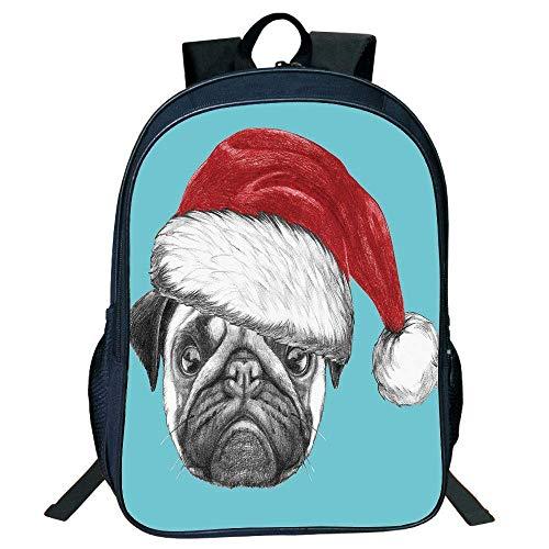HOJJP Schultasche Stylish Unisex School Students Pug,Dog Portrait Santa Hat Christmas Imagery Fun Illustration on Blue Background,Blue Ruby Grey Kids