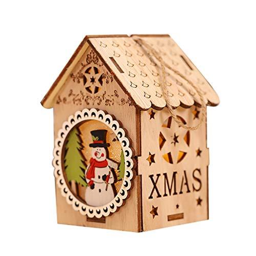 Glowjoy LED Nachtlicht Holzhaus Hängende Verzierungen, DIY Baumschmuck Holz Weihnachtsdeko Naturholzscheiben Weihnachtsbaum-Anhänger für Weihnachtsbaum