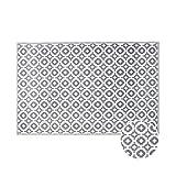 BUTLERS Colour Clash Outdoorteppich Mosaik 180x120 cm in Taupe-Weiß - Flachgewebe Teppich für Innen- und Außenbereich