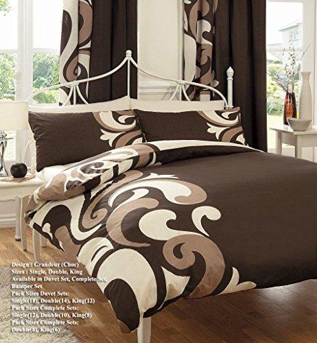Gadgets2Sel Printed Grandeur Bettbezug mit Passenden Vorhängen, Spannbettlaken und Kissenbezüge Bumper Set Quilt Bettwäsche Set Reversible Poly Baumwolle ALLE GRÖßEN F34 (Choco, Double) (Choco-bettwäsche-set)