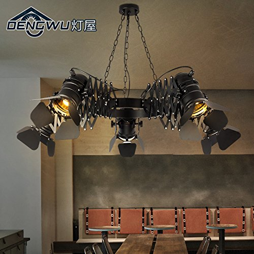 trielle Strahler kreative Persönlichkeit Wohnzimmer Eisen Teleskop-Kleidung zu speichern, Café bar Restaurant Kronleuchter 2200 * 300mm ()