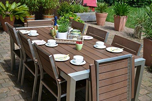 Gartenmöbel Miami Tisch 200x100 + 6 Stapelstühle und 2 Hochlehner 8 Personen Holzdekor dunkel,...