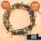 Weihnachts-Lichterketten 300 LED warme weiße Baum-Lichter Innen- und im Freiengebrauch Lichter, Netzbetriebene feenhafte Lichter 30m/98ft Lit-Länge - Grünes Kabel