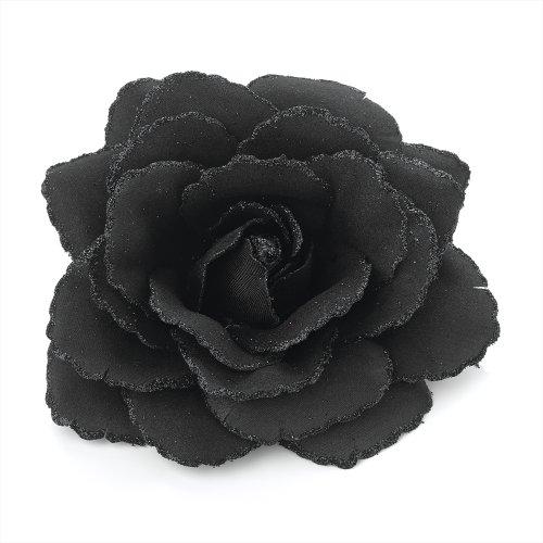 Pritties Accessories Großes schwarzes, glänzendes Haarband mit rosafarbenem Rand, elastisches Haarband und Blumenspitze.