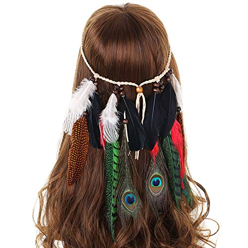 AWAYTR Jahrgang Feder Stirnband Indisch Kopfschmuck Boho Hippie Perlen Maskerade Schick Kleid Haar Zubehör Zum Frau Mädchen (Pfauenfeder + grüne Fasanenfeder)