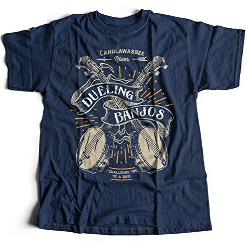 Flamentina 9103n Dueling Banjos Herren T-Shirt Deliverance Cahulawassee River 70s Canue Expeditions Jon Voight Excalibur(X-Large,Navy)