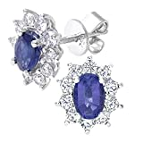 Naava Women's 18 ct White Gold 0.66 ct Round Brilliant Cut Diamond Oval Sapphire Earrings