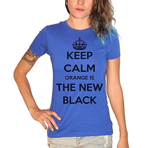 T-shirt keep calm Orange is the new black – by Brain Factory Bleu royal