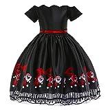 Riou Weihnachten Baby Kleidung Set Kinder Pullover Pyjama Outfits Set Familie Kleinkind Kinder Baby Mädchen Santa Print Prinzessin Kleid Partykleid Weihnachten (150, Schwarz)