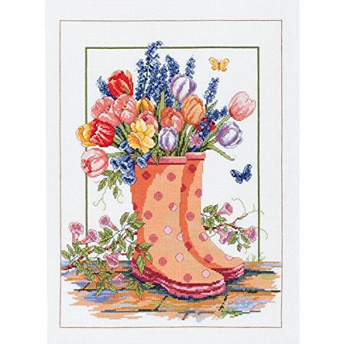 "Spring Floral Rainboots Counted Cross Stitch Kit-12""X16"" 14 Count"