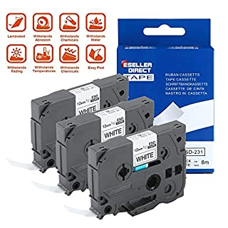 3 x TZ231 TZe231 12mm x 8m Black on White Compatible Brother Label Tapes by ACENTIX, for Brother P-Touch PT-1000 GL-H100 GL-H105 GL-200 PT-1080 PT-P700 PT-H300 Label Printing Machines