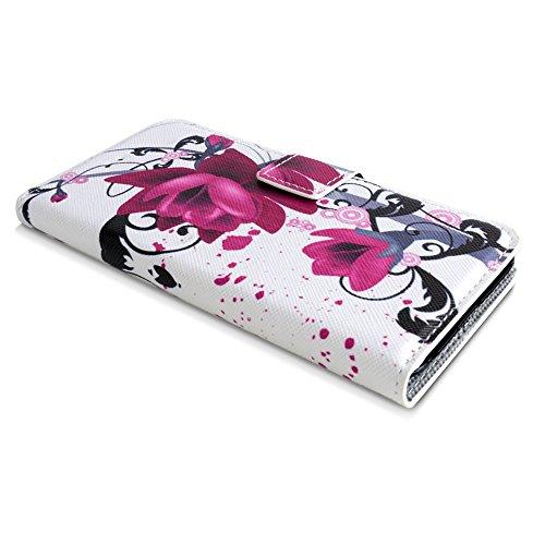 Apple iPhone 6 / 6s Handyhülle inklusive Displayfolie Eulen auf Ast Lila Blumen