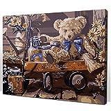 yhwygg Pintura por Números Oso De Peluche Enmarcado 16X20 Pulgadas Fotos Pintura por Números DIY Pintura Al Óleo Digital sobre Lienzo 40X50 Cm