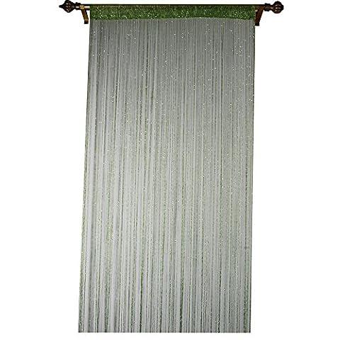 Outil à tricoter de déformation Plastique Chaîne à billes Rideau pour décoration de maison avec Creative à rayures Tassel Motif, Polyester, Green, 90x200cm(35x79'')