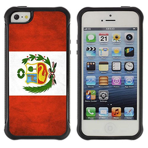 Graphic4You Vintage Uralt Flagge Von Dominikanische Republik Design Harte Hülle Case Tasche Schutzhülle für Apple iPhone 5 und 5S Drapeau Péruvien Pérou