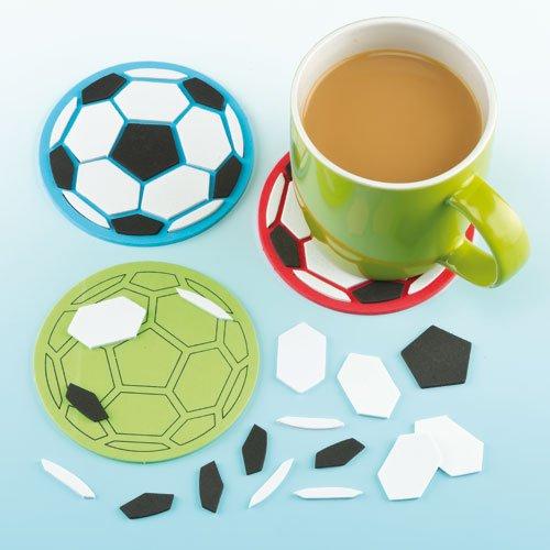 """Mosaik-Untersetzer-Bastelsets """"Fußball"""" - für Kinder zum Basteln und als Dekoration - Mottoparty(6 Stück)"""