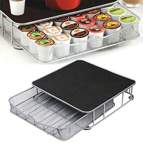 Bakaji contenitore porta capsule e cialde caffè nespresso nescafè lavazza in metallo cassetto estraibile silver e top nero (32 x 29 x 6 cm)