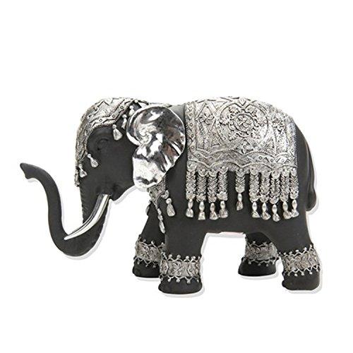 Figura Elefante Grande-Negro y Plata