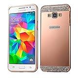 SCSY-case Modetelefonkasten Diamant verkrustete Push-Pull-Stil Metallbeschichtung Stoßfänger + Acryl Back Cover Kombination Fall für Samsung Galaxy Grand Prime / G530H (Farbe : Rosa)