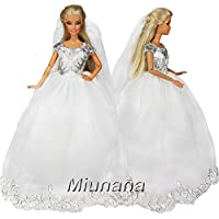 Miunana 1 Vestido Princesa Novia Elegante con Bordado + 1 Velo Ropa Vestir Boda para Muñeca Barbie Doll - Blanco