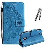 ZCRO Leder Hülle für Samsung Galaxy S4, Handyhülle für Samsung Galaxy S4, Handytasche Flip Case Hülle Leder Magnet Tasche Schutzhülle für Samsung Galaxy S4 (Blau)