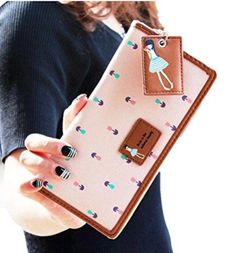 Ouneed® Damen Lange Geldbeutel Clutch Portemonnaie Zip-Beutel-Kartenhalter Brieftasche Geldbörse Handtasche (Rosa) -