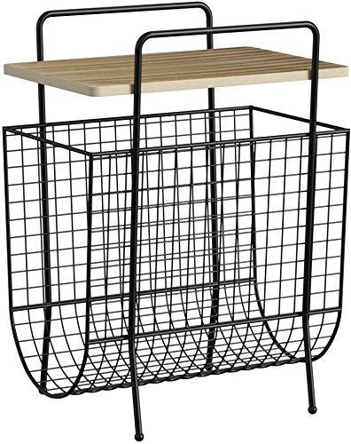 LIFA LIVING Beistelltisch mit Zeitungsständer, Zeitschriftenhalter aus schwarzem Metall und MDF-Holz, Magazinständer im Vintagestil mit zusätzlicher Ablagemöglichkeit, 40 x 29 x 54 cm