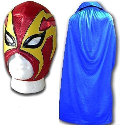 für Erwachsene luchador mexican wrestling mask W/BLUE-Umhang (Costume De Halloween Adulti)
