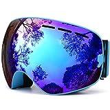 Gafas de Esquí Azules Sunglasses Restorer modelo Baqueira | Gafas Snow para Hombre y Mujer | Lente Doble Esférica Intercambiable , Aintiniebla , Antivaho y 100% Protección UV | Minimiza los Reflejos sobre la Nieve | Materiales Ligeros y Resistentes. (Azul Cielo Espejo)