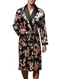 FLYCHEN Peignoirs Casual Homme Imprimé Sleepwear Satin Robe de Nuit Luxe