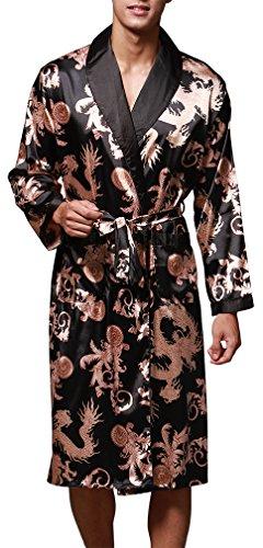OLIPHEE Herren Satin Bademäntel Paisley Pattern Kimono Morgenmantel Schwarz-1 EUR M (Asien XL)