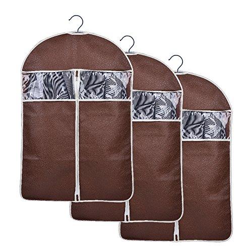 Sunmoch 3x Hochwertigeres Kleidersack 108 x 60 cm - Anzugsack / Kleiderhülle / Lang Kleidersäcken - Schutz für Lhre Anzüge und Kleider vor Staub, Motten(Kaffee)