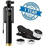 Enraciner Locust Aux Cable Monopod Selfie Stick with 3 in 1 0.4X Super Wide Angle + 180° Fisheye & 10X Macro Camera Lens for iOS & Android Smartphones