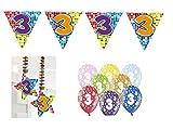 Partydeko Set 3.Geburtstag Kindergeburtstag 9 teilig Mädchen Junge Girlande Luftballon