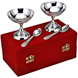 M.G.R.J German Silver Set Of 2 Ice Cream Bowls With 2 Spoons Beautiful Precious Gift (4)