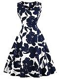 FAIRY COUPLE 50er V-Ausschnitt Rockabilly Polka Blumen Jahrgang Kleid Cocktail DRT072(L,Weiße marineblaue Floral)