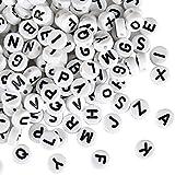 Naler 1200 Stk. Buchstabenperlen 6 mm Rund Alphabet Spacer Perlen für Schmuck Basteln