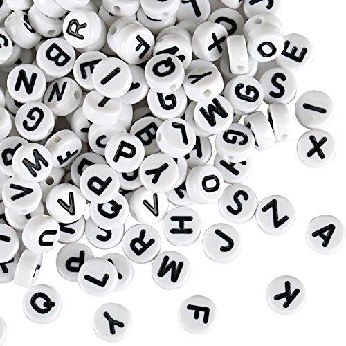 Naler 1200 Stk. Buchstabenperlen 6 mm Rund Alphabet Spacer Perlen für Schmuck Basteln -