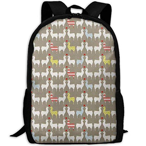 60dc1a5a0 best& Vintage Grey Llama Couples College Laptop Backpack Student School  Bookbag Rucksack Travel Daypack