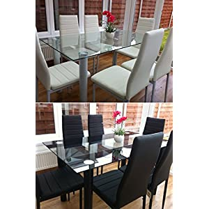 KOSY KOALA BLACK GLASS DINING TABLE SET AND 6 FAUX LEATHER BLACK CHAIRS GLASS KITCHEN DINING TABLE SET (ALL BLACK TABLE…