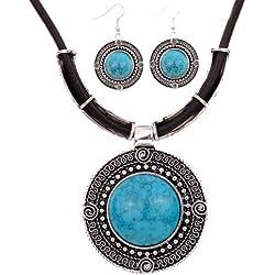 Cadena del cuero y pendientes - plata tibetana redondo azul