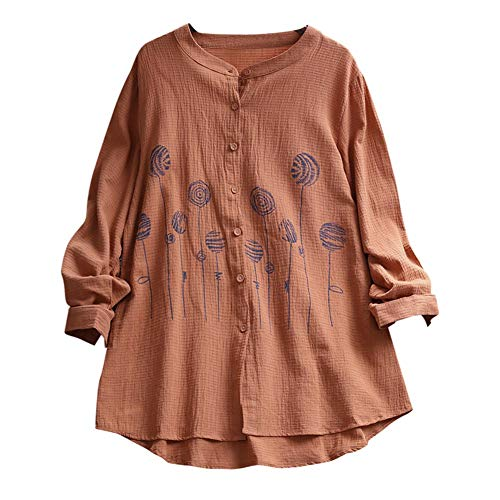 Winter Bequem Lässig Mode Frauen Solide Stickerei Casual Top T Shirt Damen Lose Langarm Top Bluse(2XL,Kaffee) ()
