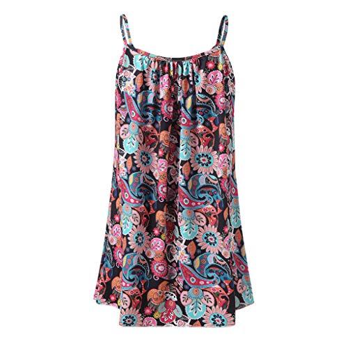 Strung♛2019 Neues Sommer Frauen Lässiges Volltonfarbes Bedruckt ärmellose Weste Bluse Tank Tops Camis Kleid, sexy Damen Partykleid Lässiges Sommer Maxikleid Abendkleid Frauen