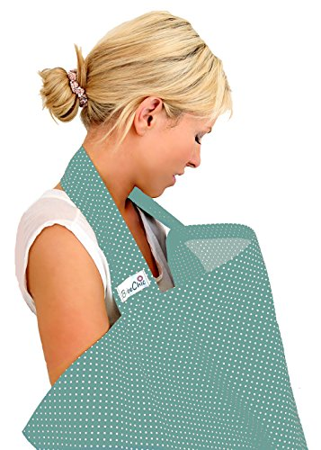 BebeChic * Top-Qualität aus 100% Baumwolle * Stillen Abdeckung mit Entbeinen * Aufbewahrungstasche * - thymian grün / weiß punkt (Draht Weiß Brust)