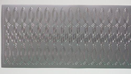 bastelkoerble® Sticker , 2 Bogen , Christenfische in Silber (34 x Gross & 50 x Klein). Fische Kommunion Kartengestaltung -
