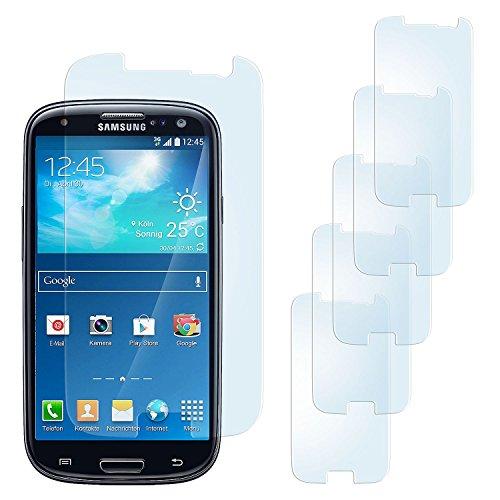 5x Samsung Galaxy S3 Schutzfolie Matt Display Schutz [Anti-Reflex] Screen protector Fingerprint Handy-Folie matte Displayschutz-Folie für Samsung Galaxy S3 / S III Neo Displayfolie - Bildschirm gewölbt, Folie bewusst kleiner