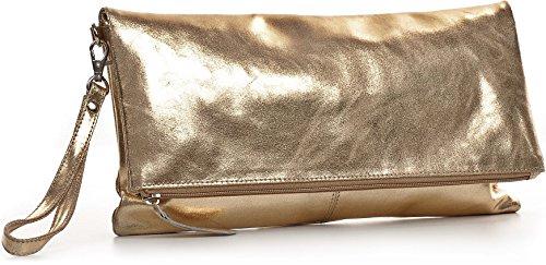 CNTMP, Borsa da Donna, Clutch, Borsa a Mano, Pochette, Borsetta da Sera, Effetto Metallico, Con Tasca in Pelle, 32x17x2,5cm (L x H x P) oro chiaro