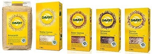 DAVERT Set 1x Amaranth + 4x Quinoa (weiss, rot, schwarz, Tricolore) (bio, vegan) 1500g Pseudogetreide