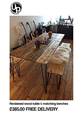 Reclaimed Wood Dining Table and x2 Benches with hairpin legs. FREE DELIVERY
