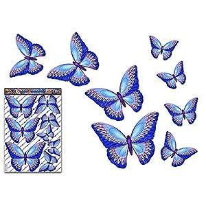 Blauer Schmetterling Tier Vinyl Auto große Aufkleber Aufkleber Pack für Laptop, Wohnwagen, LKW, Boote ST00025BL_LGE - JAS Aufkleber